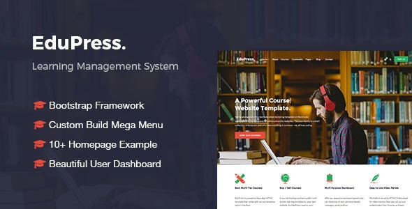 EduPress | Responsive LMS, University Education Bootstrap Site Template - Corporate Site Templates