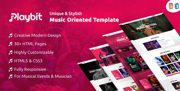 Playbit - Bootstrap Music Template - Music and Bands Entertainment