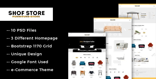 SHOFSTORE - Stylish eCommerce PSD Template for Furniture Store - Shopping Retail