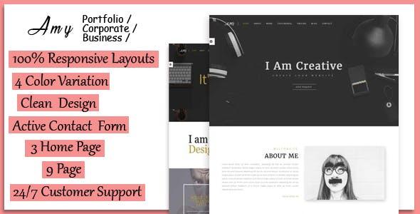 Amy - Responsive Corporate, Business & Portfolio Template