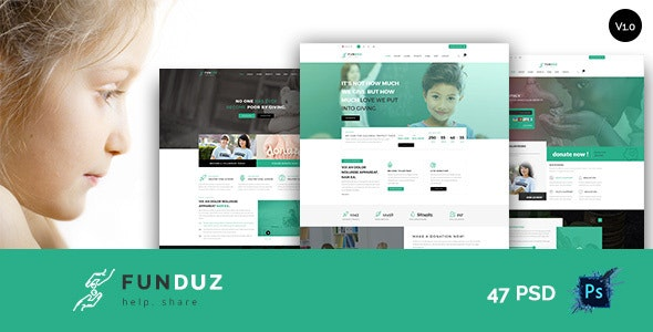 FunDuz - Charity Crowdfunding & Volunteers  PSD Template - Charity Nonprofit