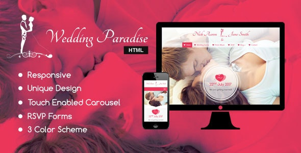 Wedding Paradise – Responsive HTML Wedding Template - Wedding Site Templates