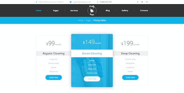 PrettyPress - Cleaning Service PSD Template