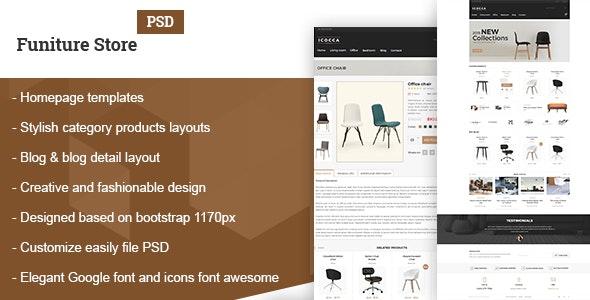 Furniture Simple Shop PSD - Retail Photoshop