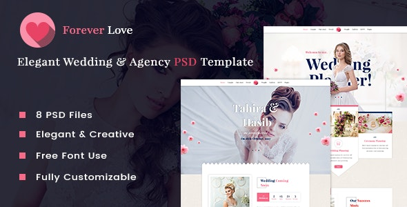 Forever Love | Elegant Wedding & Agency PSD Template - Events Entertainment