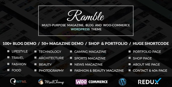 Ramble - Multi-purpose Blog, Magazine And Woo-Commerce WordPress Theme - Blog / Magazine WordPress