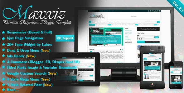 Maxxiz - Responsive Magazine/News Blogger Template