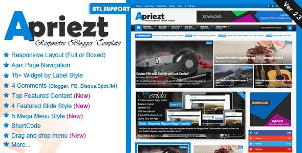 Apriezt - Responsive Magazine/News Blogger Theme - Blogger Blogging