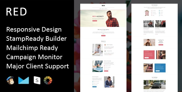Red - Multipurpose Responsive Email Template + Stampready Builder - Email Templates Marketing
