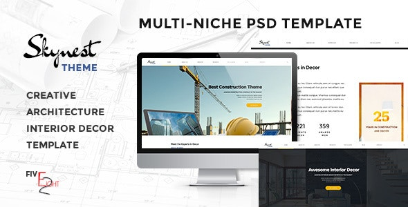 Skynest - Multi-Niche PSD Template for Construction, Architecture, and Interior Design Business - Business Corporate