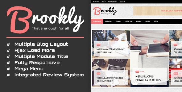 Brookly - Fashion Magazine Blog WordPress Theme - News / Editorial Blog / Magazine