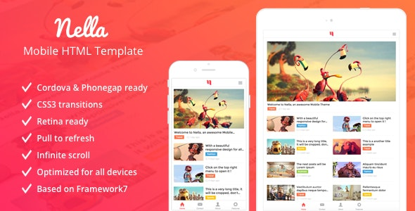 Nella - News & Magazine Mobile Template - Mobile Site Templates