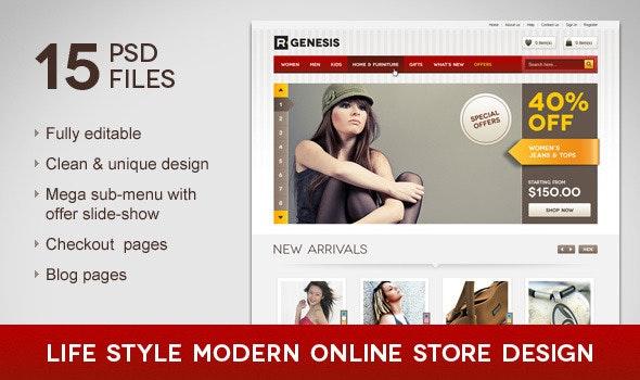 Life Style Modern Online Store Design - Retail Photoshop