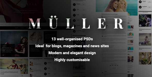Muller - Blog, Magazine and News PSD Template - Personal Photoshop
