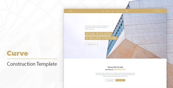 Curve Powerful Construction, Building Business Template - Corporate Site Templates