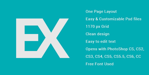 EX One Page App Landing PSD - Personal Photoshop