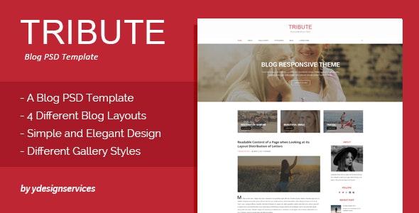 Tribute - Blog PSD Template - Photoshop UI Templates
