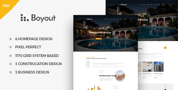 Boyout ­Construction & Business PSD Template - Business Corporate