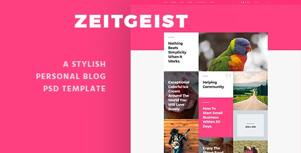Zeitgeist - Personal Blog PSD Template - Personal Photoshop