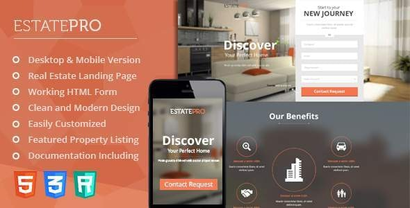 EstatePro - Real Estate Landing Pages (HTML5) - Landing Pages Marketing
