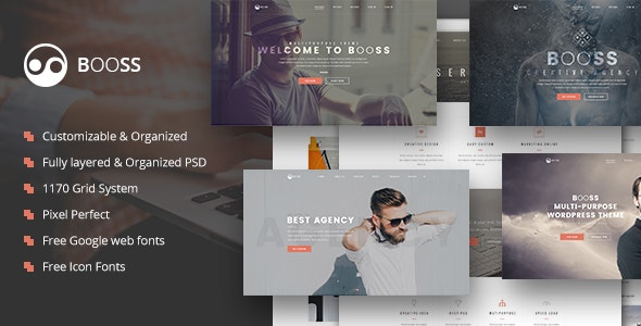 Booss | Creative Multipurpose Marketing PSD Template - Marketing Corporate