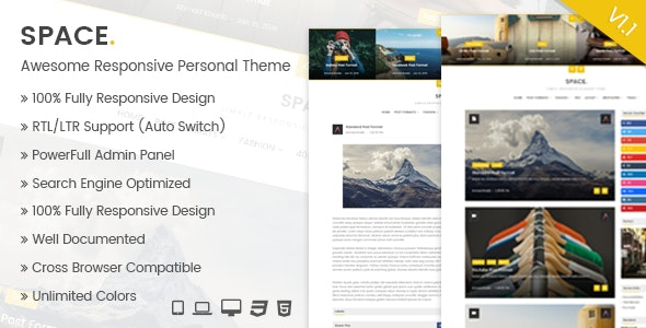 Space - Awesome Blogger Responsive Personal Theme - Blogger Blogging