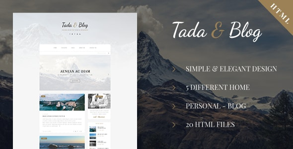 Tada & Blog - Personal HTML Theme - Personal Site Templates