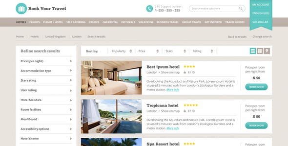Book Your Travel - Online Booking Template
