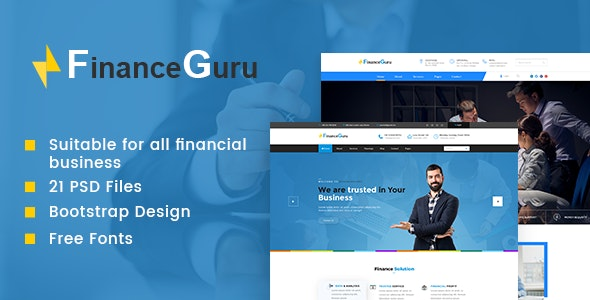 Finance Guru   Business PSD Template - Corporate Photoshop