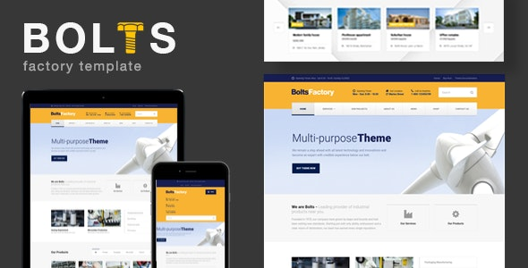 Bolts Factory - Manufacturing +Factory Business Template - Business Corporate