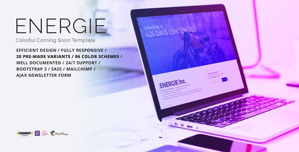 ENERGIE - Colorful Coming Soon Template - Under Construction Specialty Pages