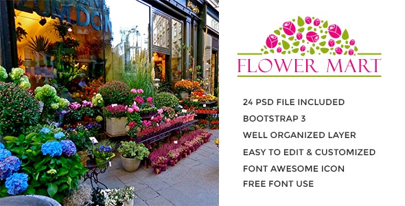 Flower Mart eCommerce PSD Template - PSD Templates