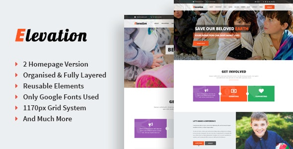 Elevation - Singe Page Nonprofit & Charity PSD Template - Charity Nonprofit