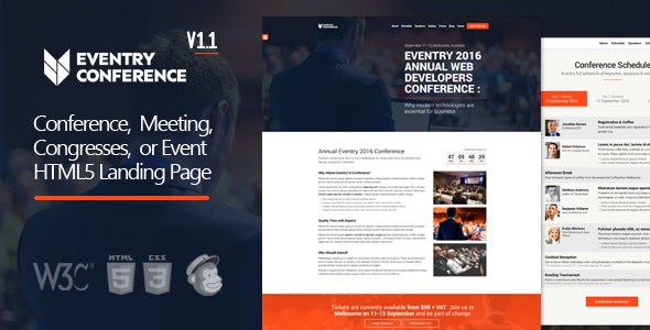Eventry - Conference & Event HTML5 Landing Page Template - Landing Pages Marketing
