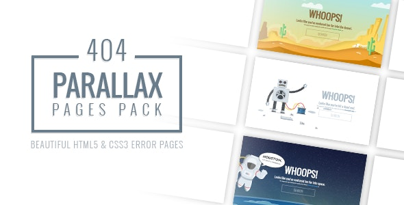 Parallax 404 Pages Pack - 404 Pages Specialty Pages