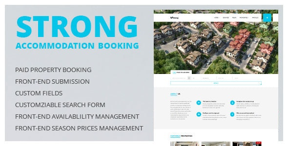 Accommodation Booking WordPress Theme - Strong - Real Estate WordPress