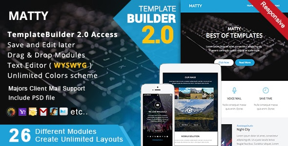 Matty - Responsive Email + MailBuild Online - Newsletters Email Templates