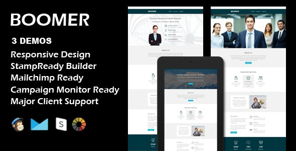 BOOMER - Multipurpose Responsive Email Template + Stamp Ready Builder - Email Templates Marketing