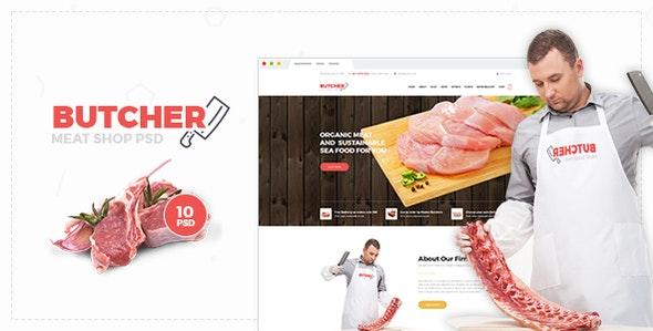 Butcher - Meat Shop PSD Template - Food Retail