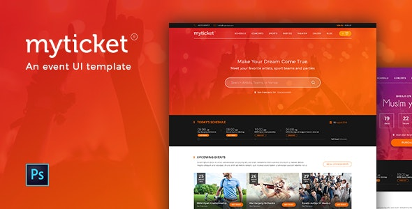 MyTicket - an Event Theme PSD - Events Entertainment