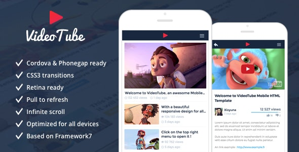 VideoTube - Responsive Mobile Template - Mobile Site Templates