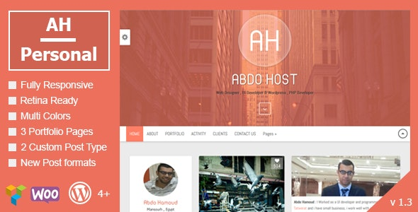 AH Personal - Creative Resume & Blog Theme - Personal Blog / Magazine