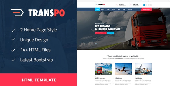 Transpo - Transport and logistics template. - Business Corporate