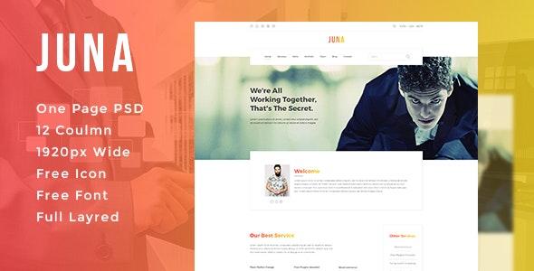 JUNA - Clean PSD Template - Corporate Photoshop