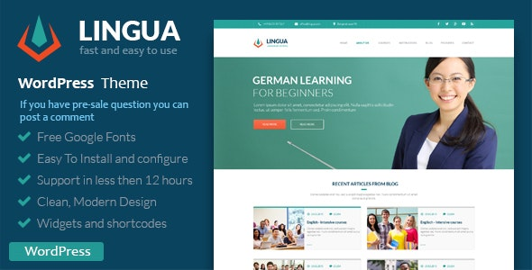 School Or Instructor - Lingua WordPress Theme - Education WordPress