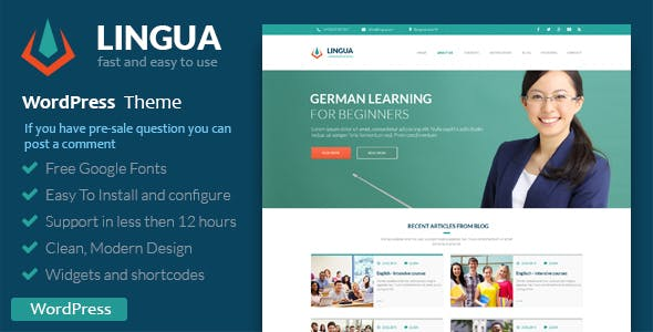 School Or Instructor - Lingua WordPress Theme