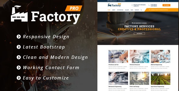 Factory Pro - Industrial Business HTML5 Template  - Corporate Site Templates