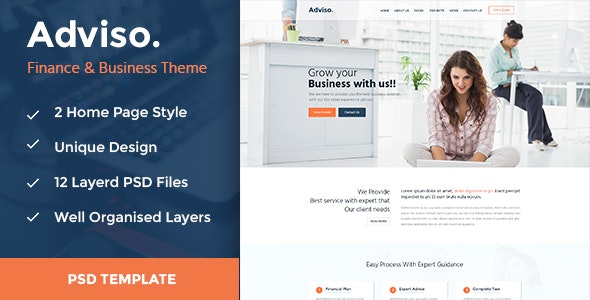 Adviso - Finance, Consulting, Business PSD Template! - Business Corporate
