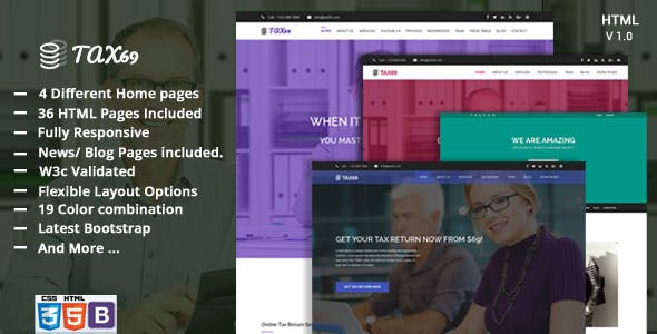 Tax 69 - Financial Consulting and Multi-purpose Business HTML5 Template