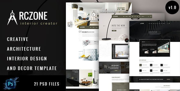 ARCZONE- Interior Design, Decor, Architecture Business Template.  - Corporate Photoshop